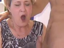 Hungry grandma fucked by young guy