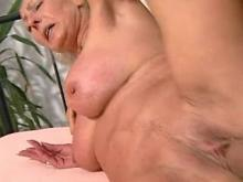 Granny is stuffed by dick and dildo