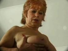 Old wrinkled grandma fondles pussy
