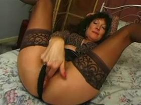 Young guys sharing curly housewife in black stockings