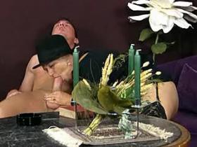 Granny tasting cum after sweaty fuck in restaurant
