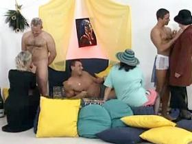 Three horny grannies gangbang with young studs