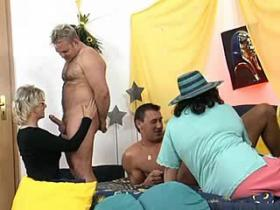 Three depraved grannies having fun with young guys
