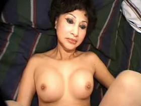 Pretty Japanese mom in stockings serving two dudes