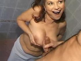 Mom with big perky tits fucks on floor in bathroom