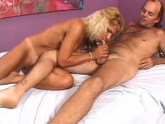 Cheeky milf gets creamy facial after blowjob