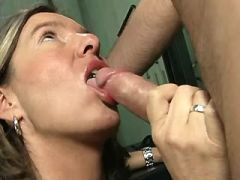 Smooth blond mom gets her yummy pussy fistfucked