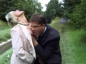 Perky grey haired grandma getting nailed in nature