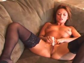 Hot milf in black nylons goes naughty on the floor