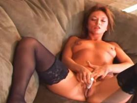 Sexy mommy in nylons goes naughty on the floor