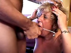 Granny gets cum in mouth from dude