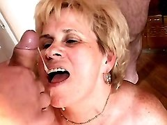 Lustful granny gets cum in mouth