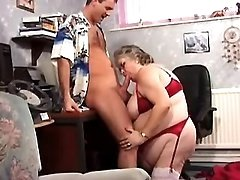 Chubby granny seduces amateur guy