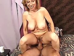 Elder mature does blowjob and jumps on strong cock