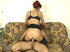 Redhead mature sucks cock and fucks in doggy style