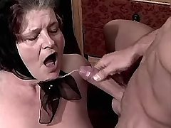 Depraved granny fucks in diff poses n gets facial