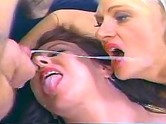 Two mature whores in stockings compete for cum