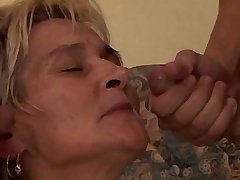 Old blonde mature gets facial after hard gangbang