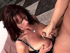 Elder mature has hot fuck and gets cumshot on tits