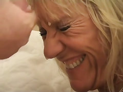 Horny granny in lingerie gets laid