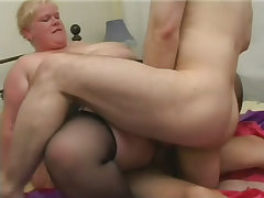 Huge fatty jj gets a double team fucking