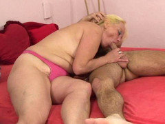 His blonde mature lover blows his cock and then lets him do her box from behind